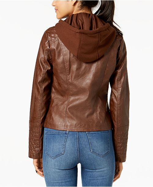Maralyn Brown Moto Me Faux Jacket amp; Juniors' Hooded Leather SrSZpqHw