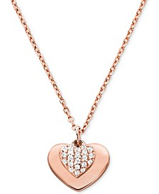 Women's Kors Love Pavé Heart Sterling Silver Necklace