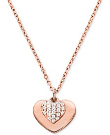Michael Kors Women's Kors Love Pavé Heart Sterling Silver Necklace