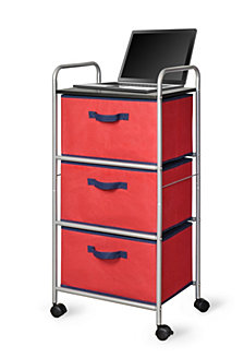 3-Drawer Cart with MDF Top, Red