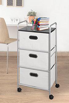 3-Drawer Storage Cart with MDF Top, Gray Bins