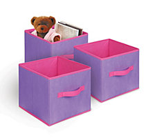 3-Pack Textured Bins, Purple
