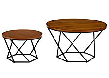Geometric Nesting Coffee Table Set- Walnut/Black