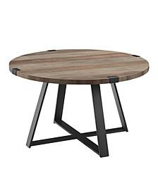 "30"" Metal Wrap Round Coffee Table - Grey Wash/Black"