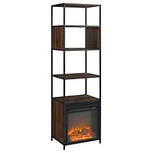 "70"" Metal and Wood Tower Fireplace - Dark Walnut"