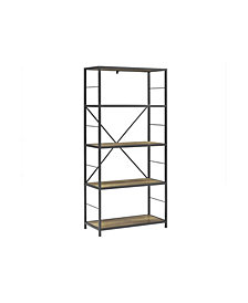 "63"" Rustic Metal and Wood Media Bookshelf - Rustic Oak"