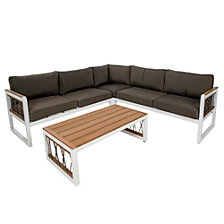 4-Piece Wood and Metal Outdoor Patio Sectional with Cord Accents - White, teak wood