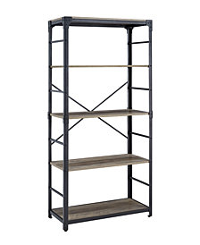 "64"" Angle Iron Bookshelf - Grey Wash"