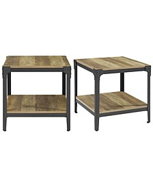 Angle Iron Rustic Wood End Table, Set of 2 - Rustic Oak