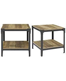 Angle Iron Rustic Wood End Table, Set of 2 - Rustic Oak