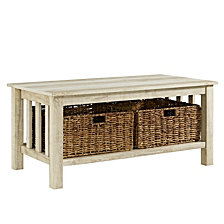 "40"" Traditional Wood Storage Coffee Table with Totes - White Oak"