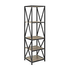 "61"" Tall X-Frame Metal and Wood Media Bookshelf - Driftwood"