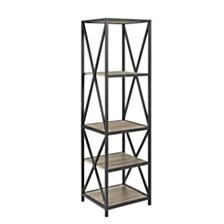 "61"" Tall X-Frame Metal and Wood Media Bookshelf - Driftwood"