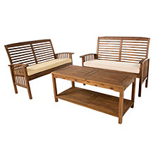 3-Piece Acacia Wood Patio Conversation Set - Dark Brown