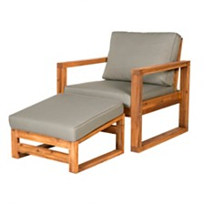 Outdoor Classic Contemporary Open Side Chair and Ottoman with Cushions - Brown