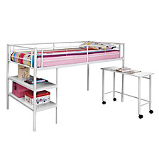 Premium Metal Twin Low Loft Bed with Desk - White