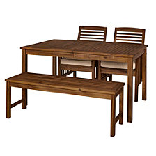 Outdoor Classic Contemporary Acacia Wood Simple Patio 4-Piece Dining Set - Dark Brown