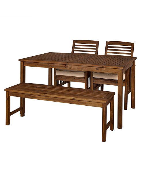 Walker Edison Outdoor Classic Contemporary Acacia Wood Simple Patio 4-Piece Dining Set - Dark Brown