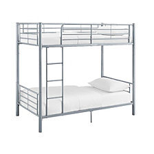 Premium Metal Twin over Twin Bunk Bed - Silver