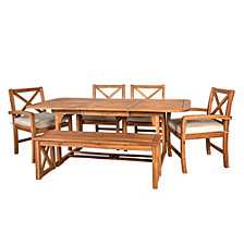 6-Piece X-Back Acacia Wood Outdoor Patio Dining Set with Cushions - Brown