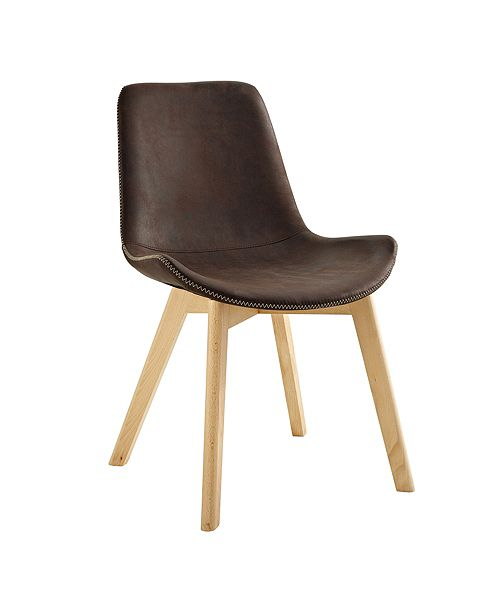 Walker Edison Suede Side Chair with Edge Stitching, Set of 2 - Brown