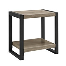 "24"" Wood Metal Side End Table - Driftwood"
