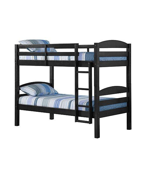 Walker Edison Solid Wood Twin Over Bunk Bed Black