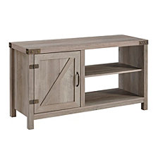 44 inch Rustic Farmhouse Barn Door Console - Grey Wash