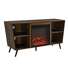 "52"" Angled Side Fireplace Console with Metal Legs - Dark Walnut"