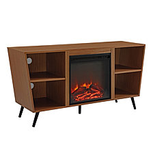 "52"" Modern Angled Side Fireplace Console TV Stand - Pecan"