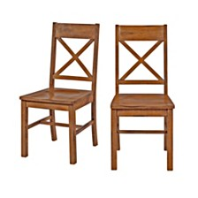 Antique Brown Wood Dining Kitchen Chairs, Set of 2