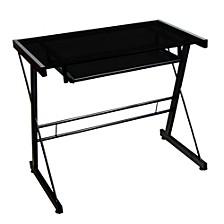 Home Office Glass Metal Computer Desk - Black