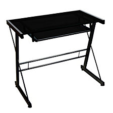 "31"" Glass And Metal Modern Solo Home Office Computer Desk With Keyboard Tray – Black"