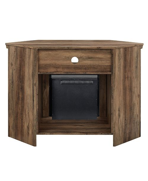 Walker Edison 48 Quot Wood Corner Fireplace Media Tv Stand