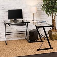 "51"" Home Office L-Shaped Glass Corner Computer Desk with Black Metal Frame"