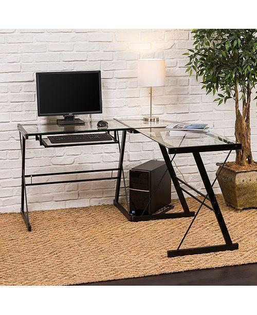 51 Home Office L-Shaped Glass Corner Computer Desk with Black Metal Frame