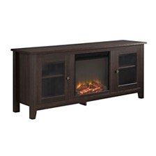 "58"" Wood Media TV Stand Console with Fireplace - Espresso"