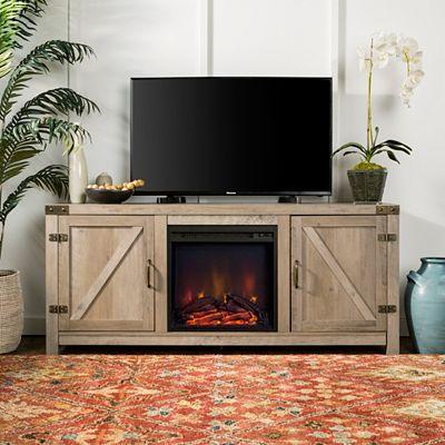 Walker Edison 58 Rustic Farmhouse Barn Door Fireplace Tv Stand