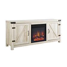 "58"" Rustic Farmhouse Barn Door Fireplace TV Stand Storage Console - White Oak"
