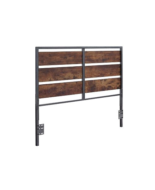 Walker Edison Queen Size Metal and Wood Plank Panel Headboard - Brown