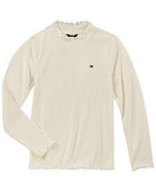 Tommy Hilfiger Big Girls Ribbed Mock-Neck Top