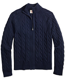 Brooks Brothers Men's Red Fleece Slim-Fit Cable-Knit Full-Zip Sweater