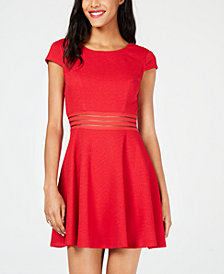 City Studios Juniors' Illusion-Stripe Textured Fit & Flare Dress