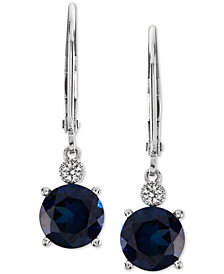 Lab-Created Sapphire (2-7/8 ct. t.w.) & White Sapphire Accent Drop Earrings in Sterling Silver