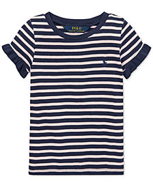 Polo Ralph Lauren Toddler Girls Striped Ruffled T-Shirt