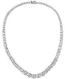 "Cubic Zirconia Graduated 18"" Collar Necklace in Sterling Silver"