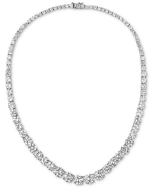 """Tiara Cubic Zirconia Graduated 18"""" Collar Necklace in Sterling Silver"""