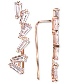 Cubic Zirconia Baguette Ear Climbers in 14k Rose Gold-Plated Sterling Silver