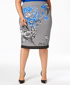 ECI Plus Size Mixed-Print Pencil Skirt
