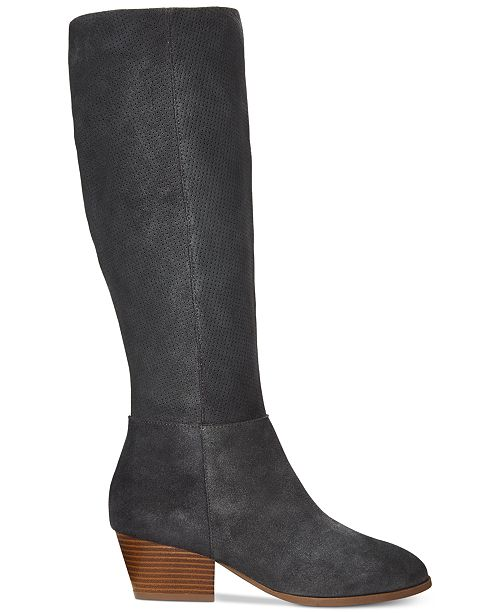 6afee91afa9 Style Co Izalea Suede Dress Boots Created For Y S. Black Suede Pointed Toe  Chunky Heel Thigh High Boots 038669 Womens Fashion ...